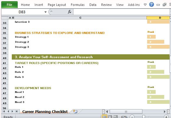 Career Planning Checklist Template for Excel - planning a career path