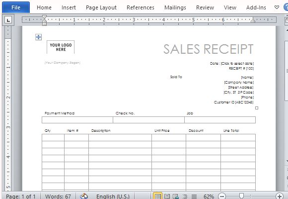 business receipt template word