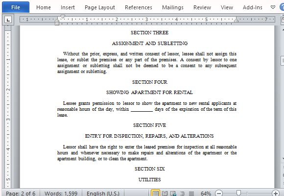 Apartment Lease Agreement Form for Word - define rental agreement