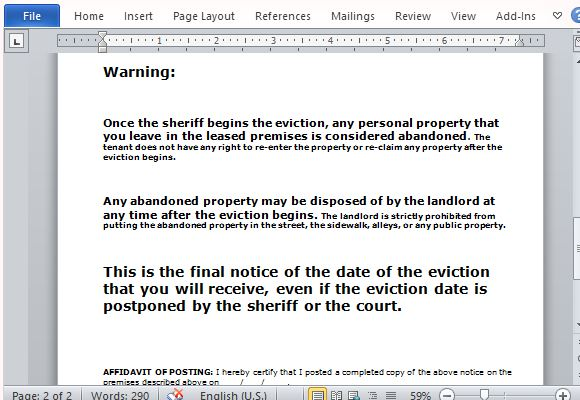 Eviction Notice Form for Word - copy of an eviction notice