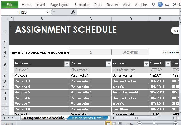 Free Assignment Schedule Tracker for Excel