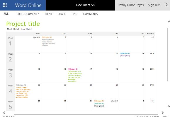 Project Timeline Calendar Template for Word