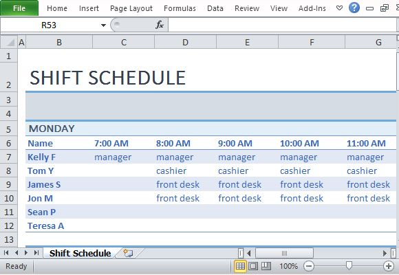 Employee Shift Schedule Template for Excel