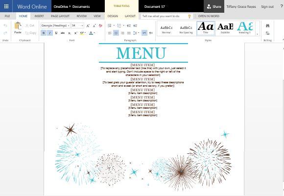 Event Menu Maker Template for Word - event menu template