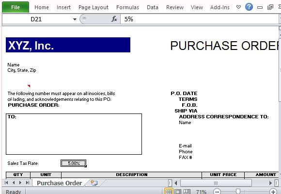 Purchase Order Template for Excel - po form template