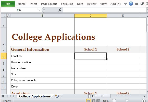 Track College Expenses And Activities With College Comparison Worksheet