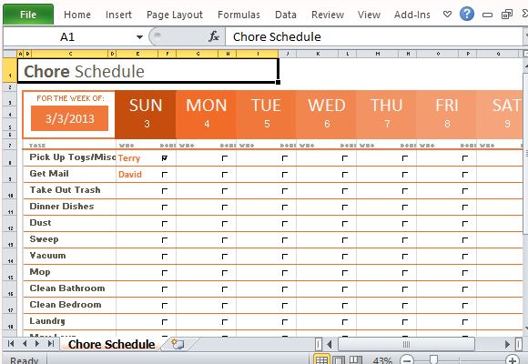 Weekly Chore Schedule Organizer for Excel