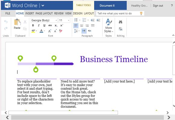 Word Template for Making Business Project Timelines