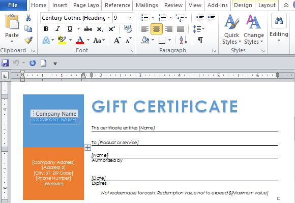 Free Word Template for Making Printable Gift Certificates