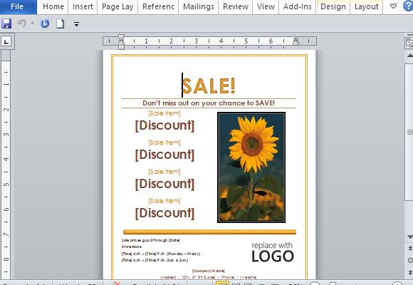 Sales Flyer Template for Word - ms word for sale