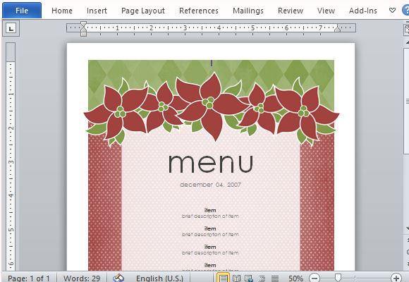 How To Create Printable Menus in Microsoft Word - free menu templates for microsoft word