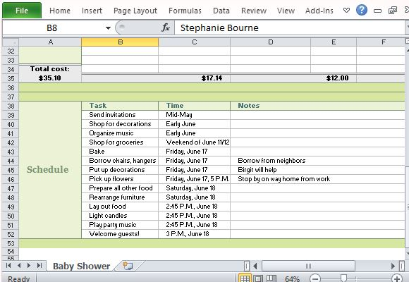 Baby Shower Planner for Excel