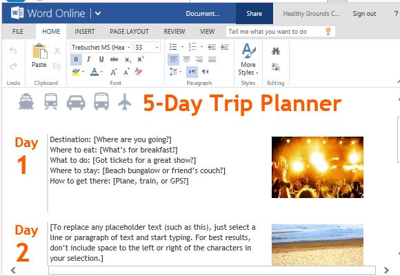 Free Trip Planner Template for Microsoft Word Online - microsoft daily planner