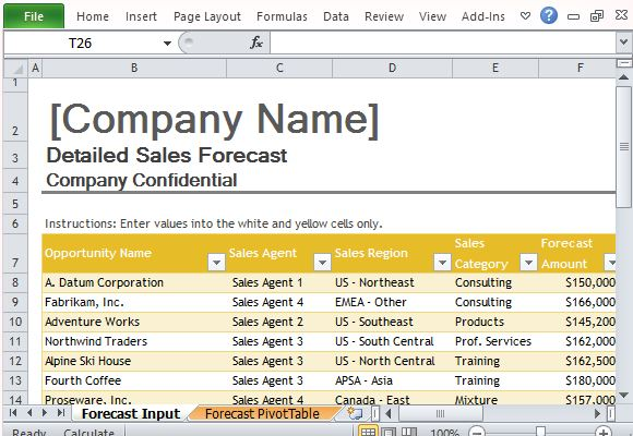 Sales Forecast Template for Excel - Sales Forcast