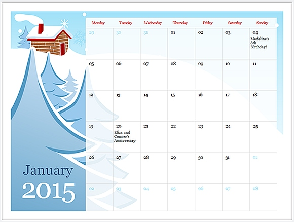 New Year 2015 PowerPoint Templates - sample power point calendar
