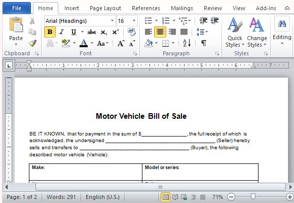 Motor Vehicle Bill of Sale Template for Word - department of motor vehicles bill of sale form