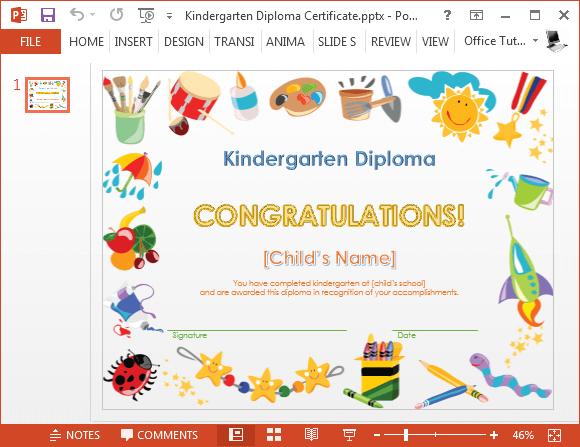 kindergarten completion certificates