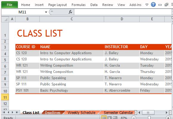 How To Create Semester Schedule in Excel - class list template