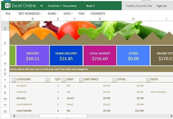Grocery Budget Template for Excel Online