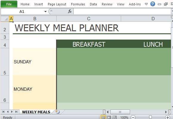 Weekly Diet Plan Template for Excel
