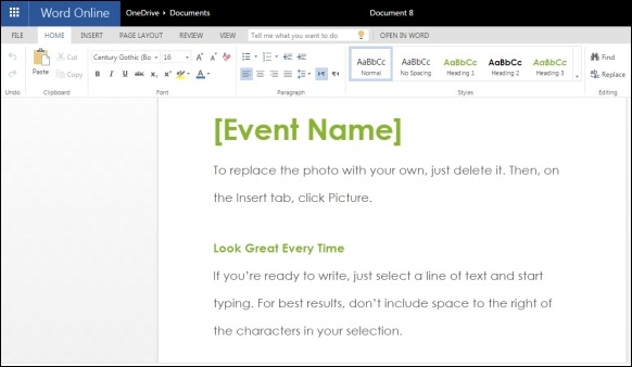 Event Invitation Template for Word Online