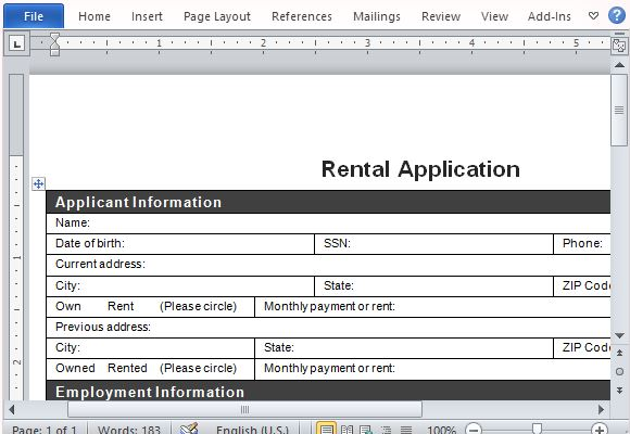Rental Application Form for Word