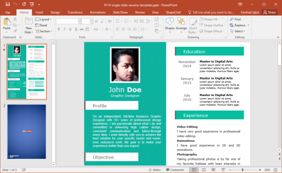 resume template ppt download