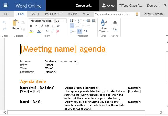 How To Create Business Meeting Agenda in Microsoft Word - business meeting template microsoft word