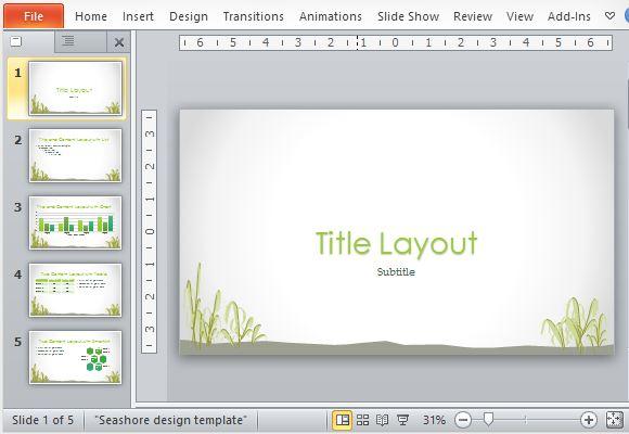 Free Seashore PowerPoint Template - simple powerpoint templates