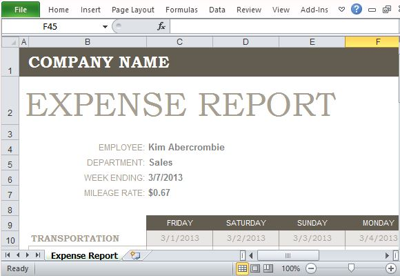 Free Expense Report Template for Excel - Expenses Templates