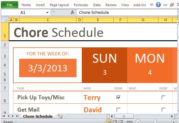 Weekly Chore Schedule Organizer for Excel - weekly household chore list