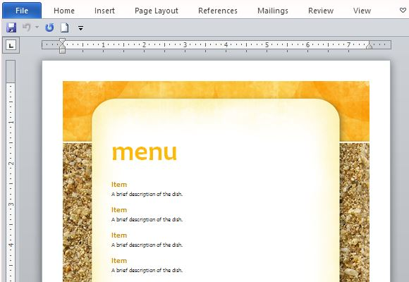 How To Create Printable Menus in Microsoft Word - menu templates free microsoft