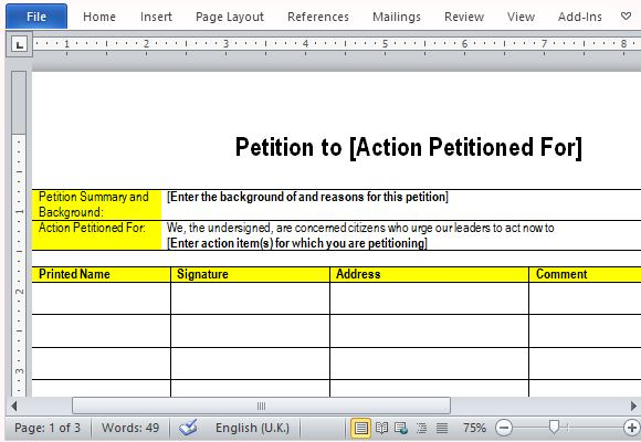 Best Free Petition Templates for Word - microsoft word sign template