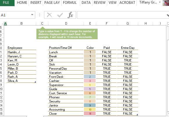 Employee Time  Increment Calculator for Excel - employee schedule calculator