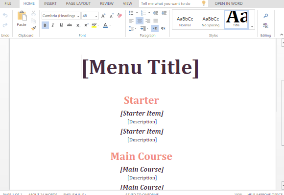 Microsoft Office Menu Templates – Microsoft Office Menu Template
