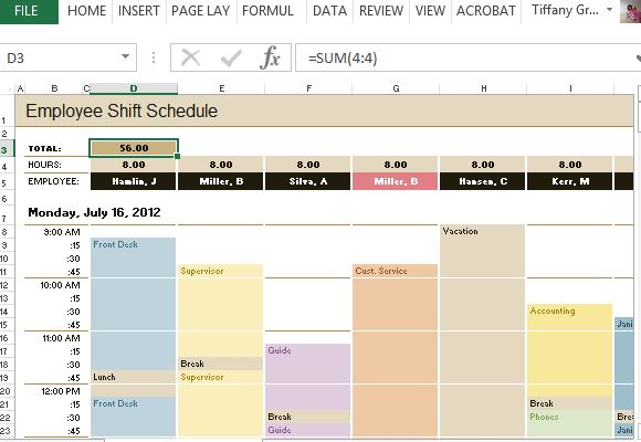 Employee Time  Increment Calculator for Excel - employee shift schedules
