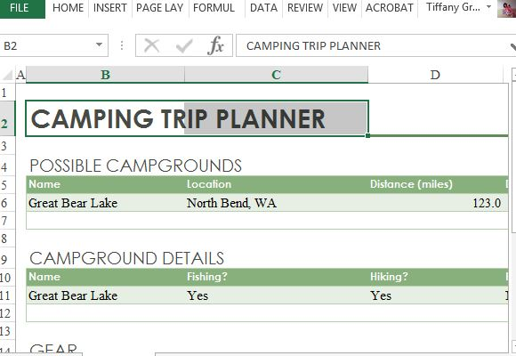 Camping Trip Planner Excel Template
