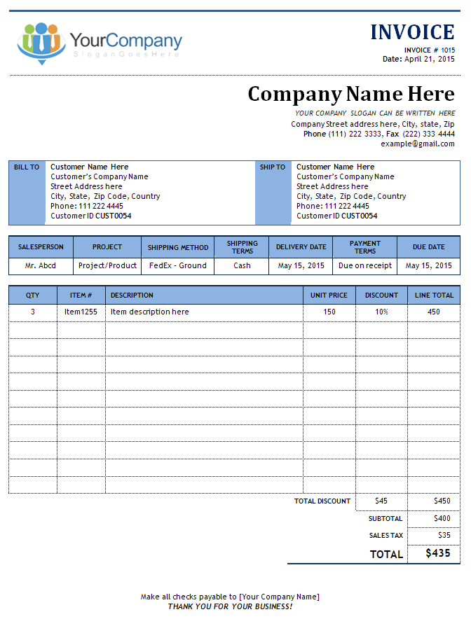 online invoice template free