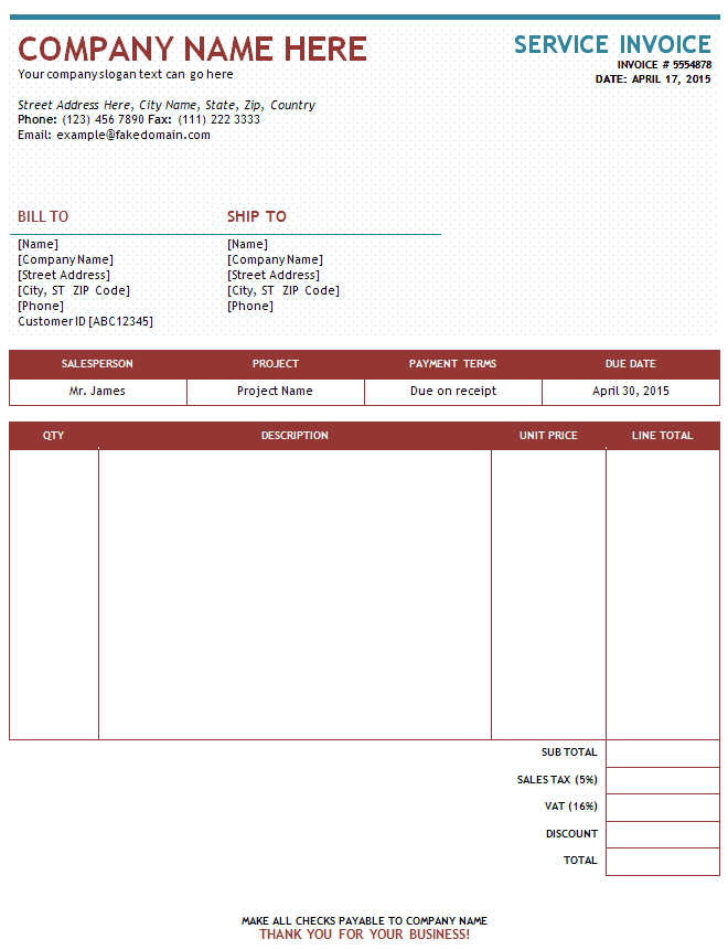 Sample Of Invoices For Services – Samples of Invoices for Services