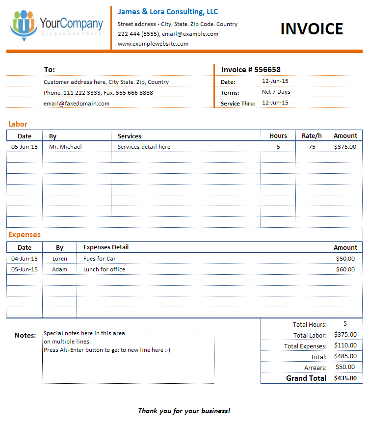 Sample Invoice Consulting – Sample Consulting Invoice