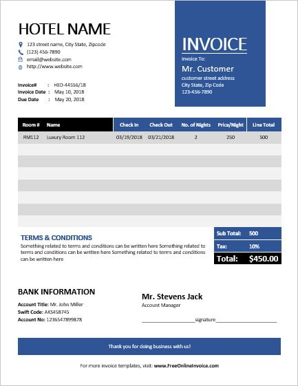 MS Word Hotel Invoice Template