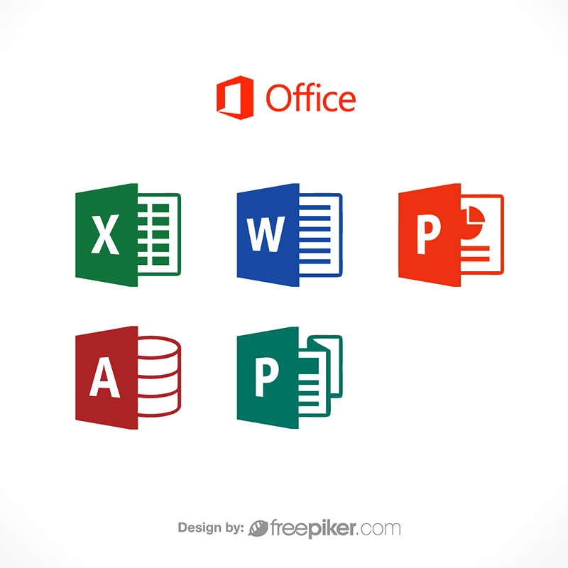 Freepiker microsoft office word excel powerpoint publisher icon