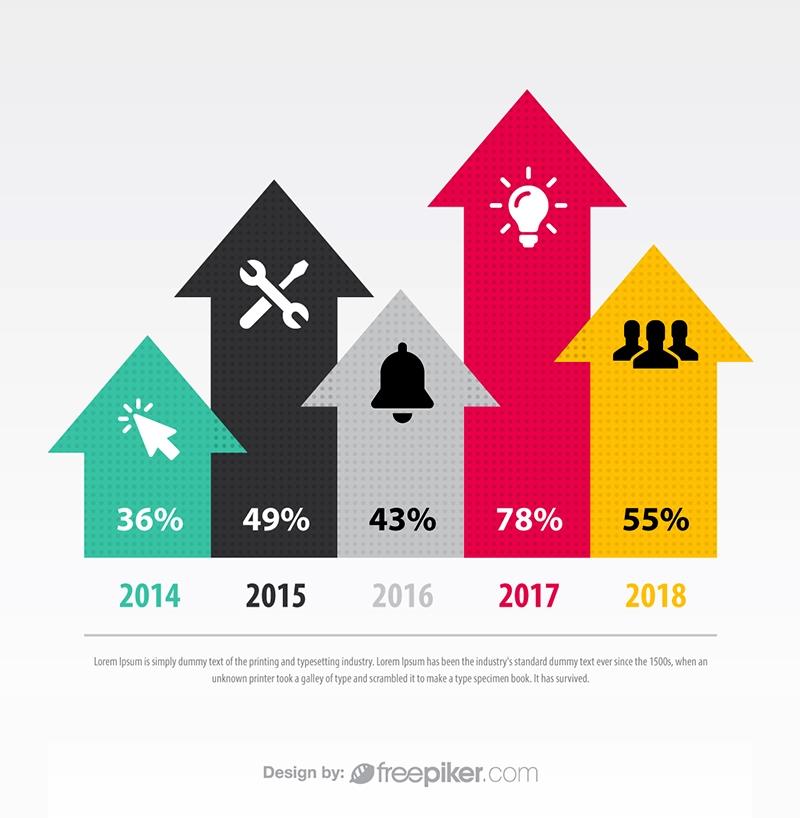 Freepiker arrow chart smart art vector infographic