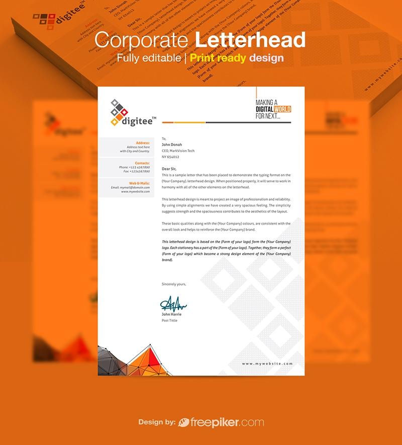 Freepiker corporate letterhead stationery