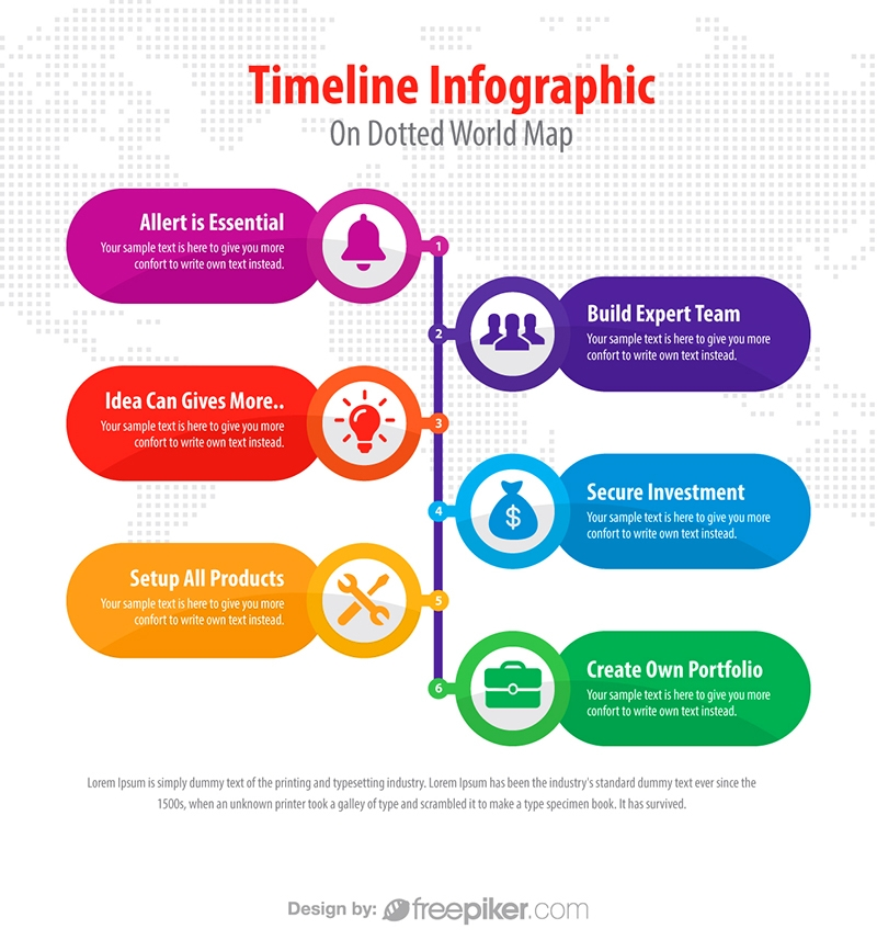 Freepiker business timeline infographic on dotted map - sample business timeline