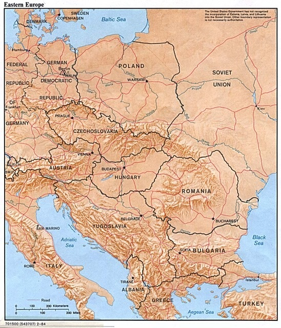 Printable Map of Physical Maps of Eastern Europe, Physical Feature