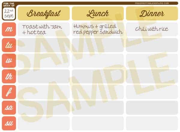 Printable Weekly Meal Planner Calendar - online weekly calendar
