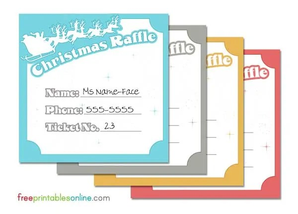 Free printable Christmas raffle tickets