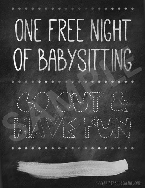 Printable Free Babysitting Voucher - babysitting pass