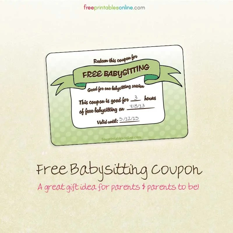 Free Babysitting Coupon - Free Printables Online